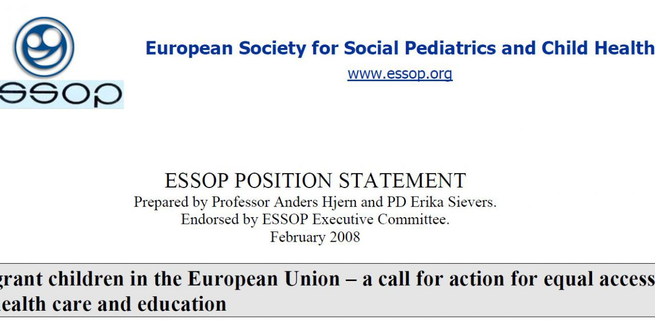 ESSOP position statement 3 – Migrant children in the European Union