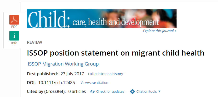 ISSOP position statement on migrant child health – now published in Child Care Health Dev !