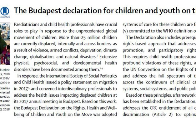 The Budapest declaration for children and youth on the move – Comment in The Lancet Child and adolescent health