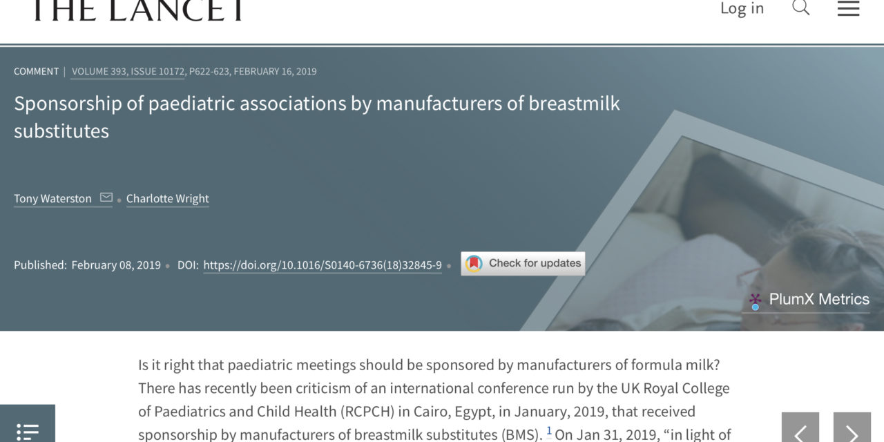 Sponsorship of paediatric associations by infant formula manufacturers
