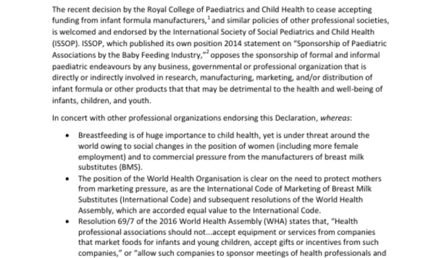 ISSOP Declaration: Conflict of Interest and Funding from the Baby Food Industry