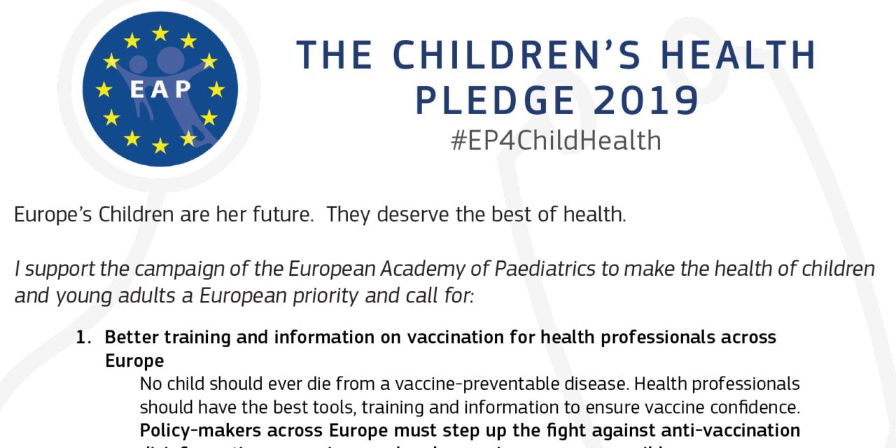 European Academy of Paediatrics Children's Health Pledge 2019