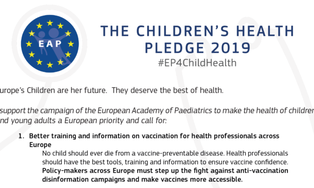 European Academy of Paediatrics Children's Health Pledge 2019