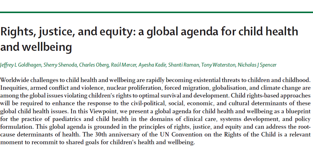 Rights, justice, and equity: a global agenda for child health and wellbeing