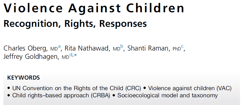 VIOLENCE AGAINST CHILDREN: RECOGNITION, RIGHTS AND RESPONSES