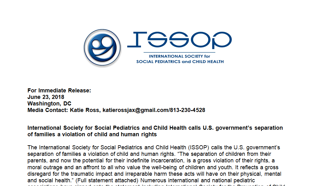 International Society for Social Pediatrics and Child Health calls U.S. government's separation of families a violation of child and human rights – Press release