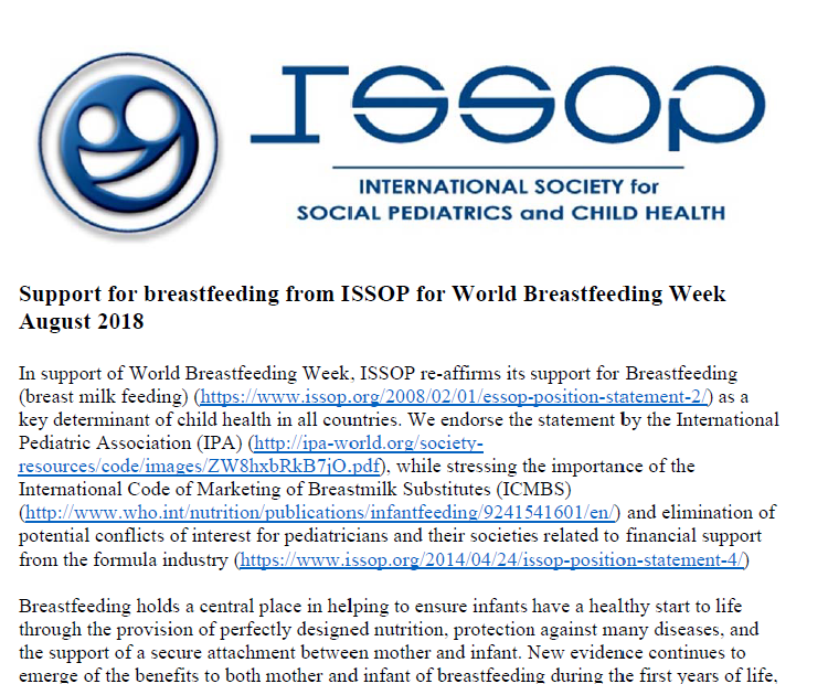 Support for breastfeeding from ISSOP for World Breastfeeding Week August 2018